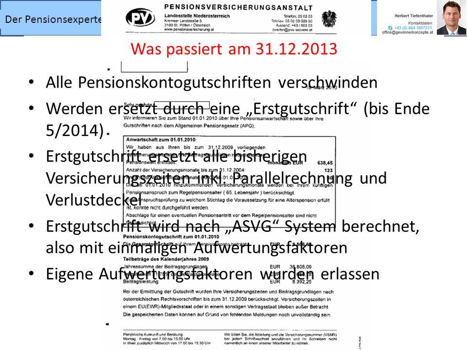 """Was passiert am 31.12.2013 Alle Pensionskontogutschriften verschwinden. Werden ersetzt durch eine """"Erstgutschrift (bis Ende 5/2014)"""