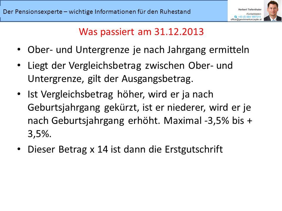 Was passiert am 31.12.2013 Ober- und Untergrenze je nach Jahrgang ermitteln.