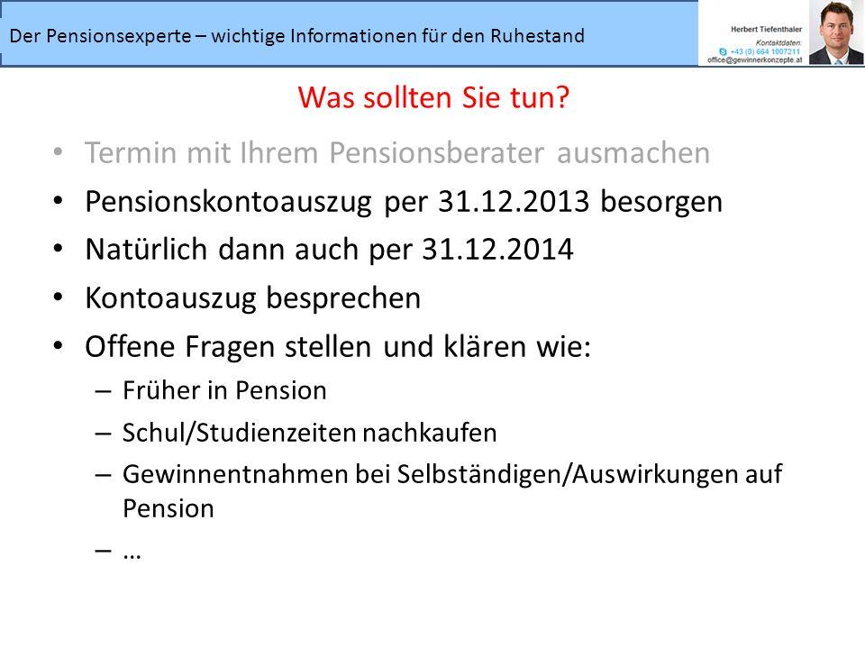 Termin mit Ihrem Pensionsberater ausmachen