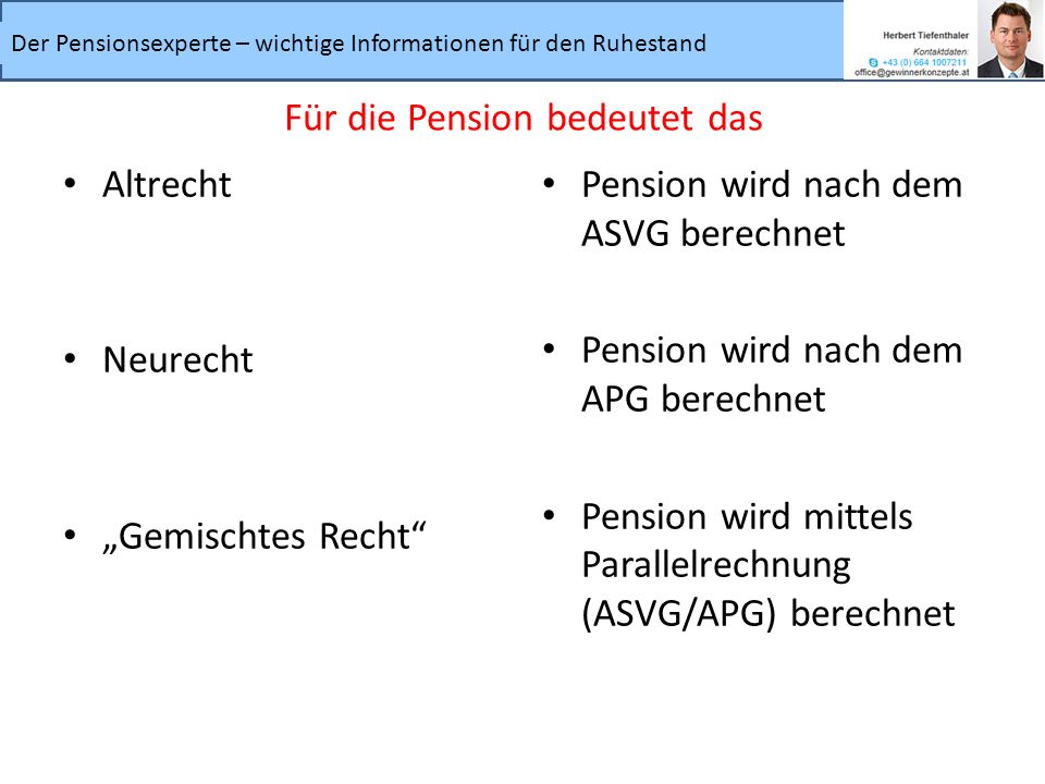 Für die Pension bedeutet das