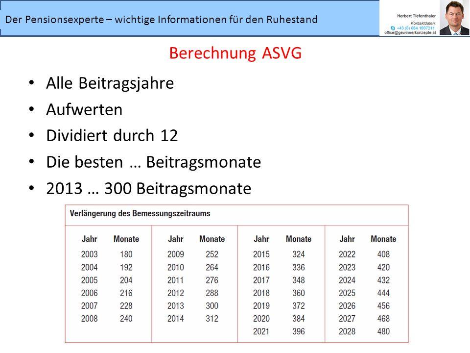 Berechnung ASVG Alle Beitragsjahre. Aufwerten. Dividiert durch 12.