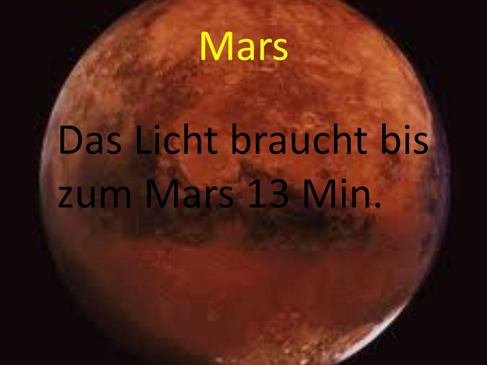 Mars Das Licht braucht bis zum Mars 13 Min.