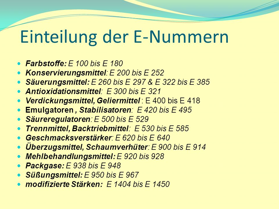 Einteilung der E-Nummern