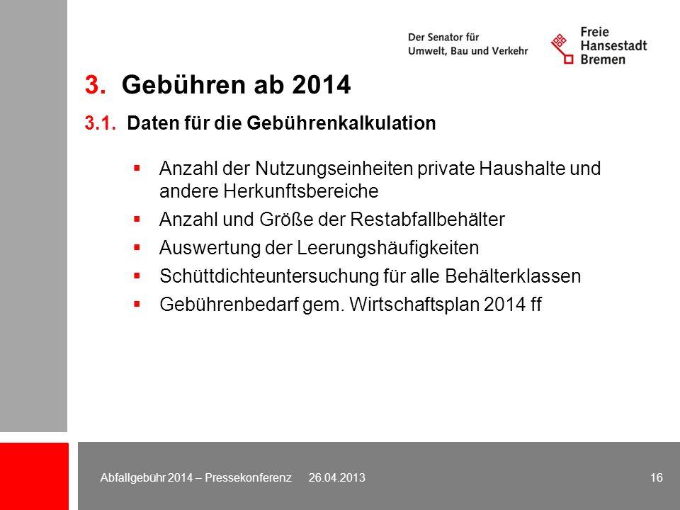 3. Gebühren ab 2014 3.1. Daten für die Gebührenkalkulation