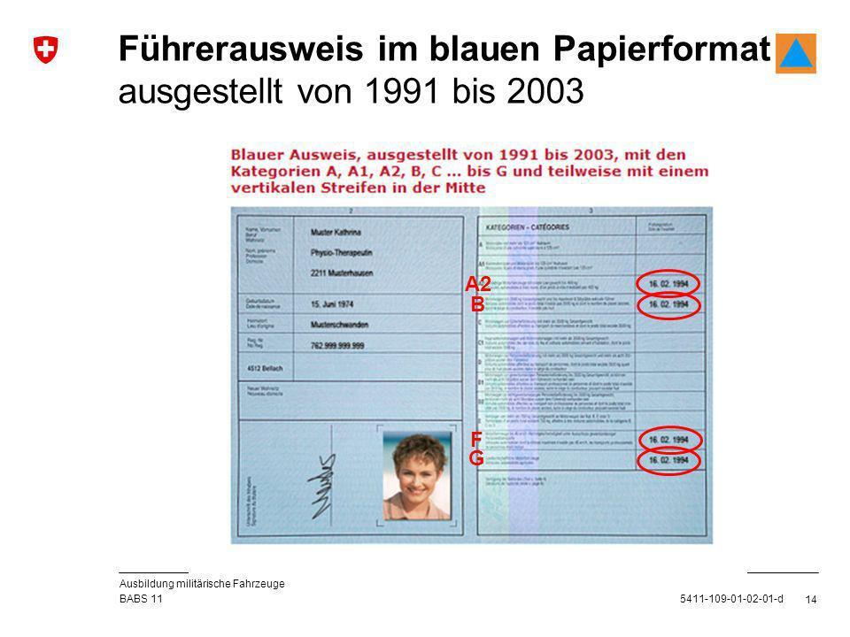 Führerausweis im blauen Papierformat ausgestellt von 1991 bis 2003