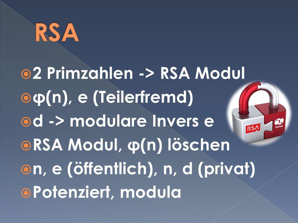 RSA 2 Primzahlen -> RSA Modul φ(n), e (Teilerfremd)