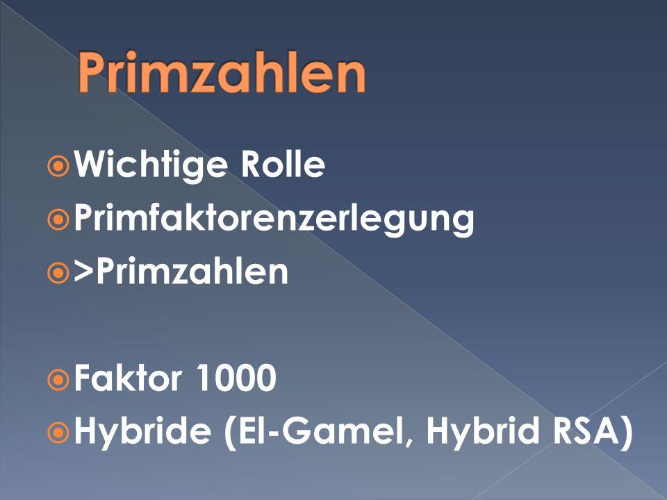 Primzahlen Wichtige Rolle Primfaktorenzerlegung >Primzahlen
