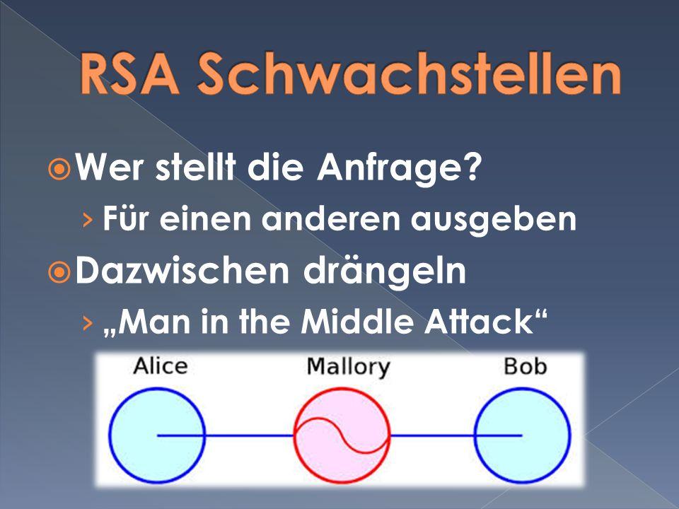 RSA Schwachstellen Wer stellt die Anfrage Dazwischen drängeln