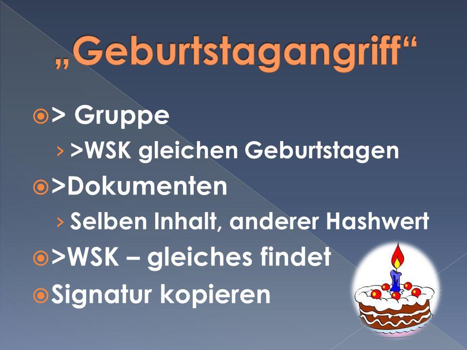 """""""Geburtstagangriff > Gruppe >Dokumenten"""