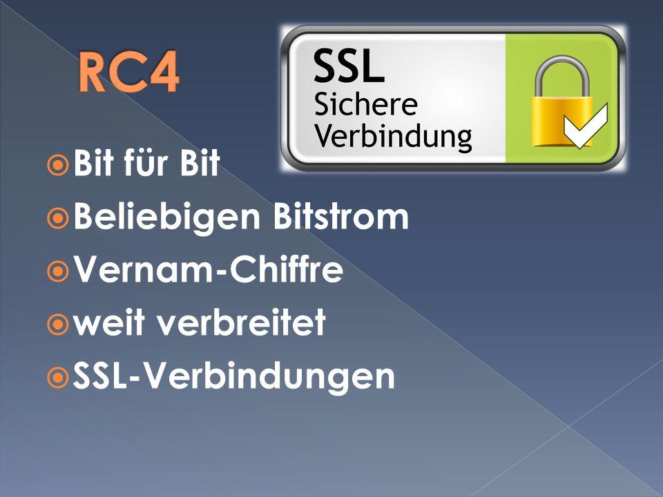 RC4 Bit für Bit Beliebigen Bitstrom Vernam-Chiffre weit verbreitet