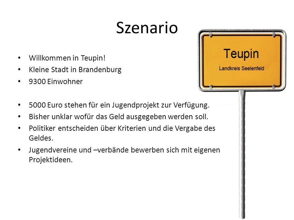 Szenario Willkommen in Teupin! Kleine Stadt in Brandenburg