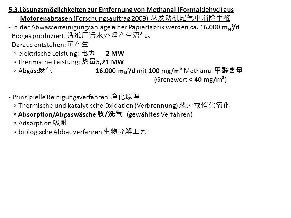 5.3.Lösungsmöglichkeiten zur Entfernung von Methanal (Formaldehyd) aus