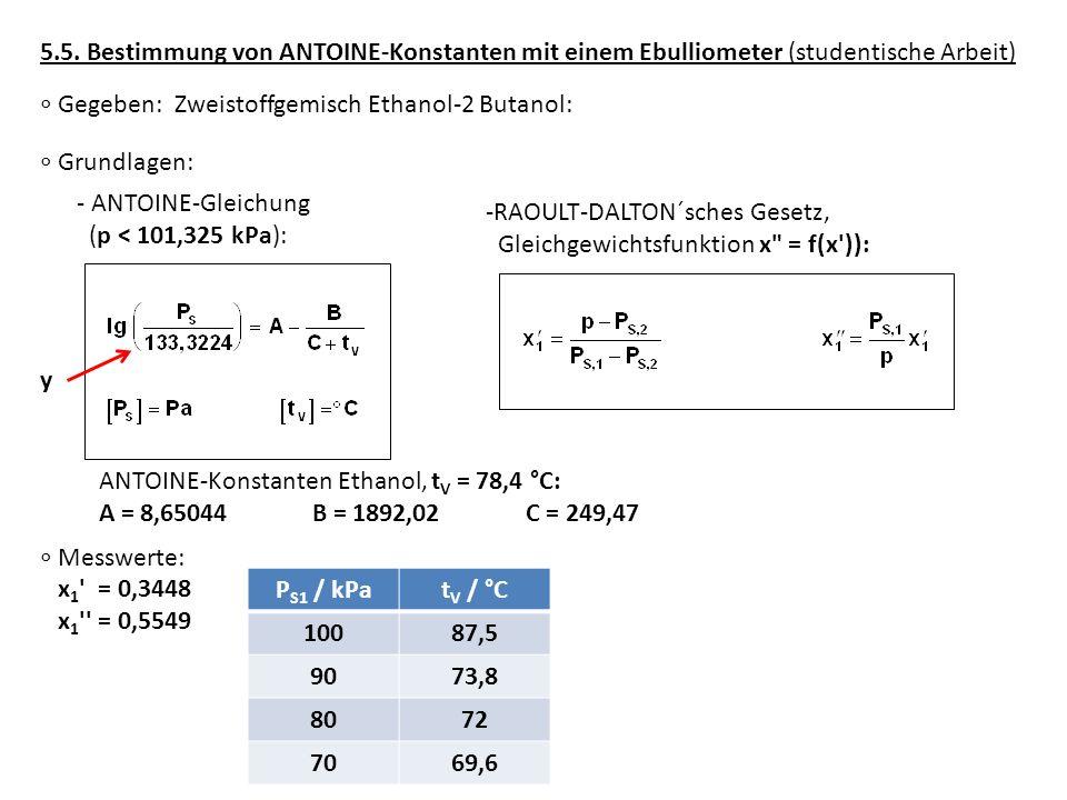 5.5. Bestimmung von ANTOINE-Konstanten mit einem Ebulliometer (studentische Arbeit)
