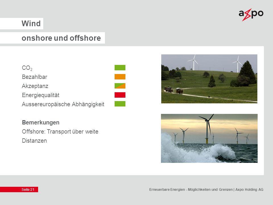 Wind onshore und offshore CO2 Bezahlbar Akzeptanz Energiequalität
