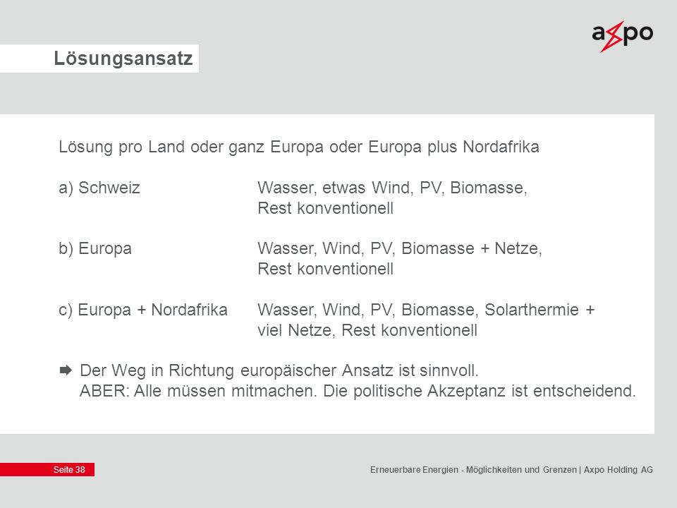 Lösungsansatz Lösung pro Land oder ganz Europa oder Europa plus Nordafrika. a) Schweiz Wasser, etwas Wind, PV, Biomasse, Rest konventionell.