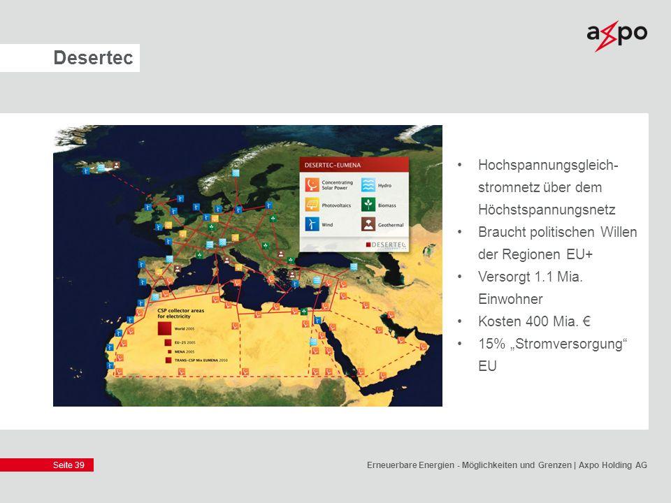 Desertec Hochspannungsgleich-stromnetz über dem Höchstspannungsnetz