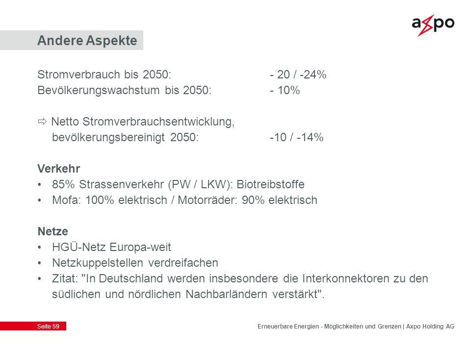 Andere Aspekte Stromverbrauch bis 2050: - 20 / -24%