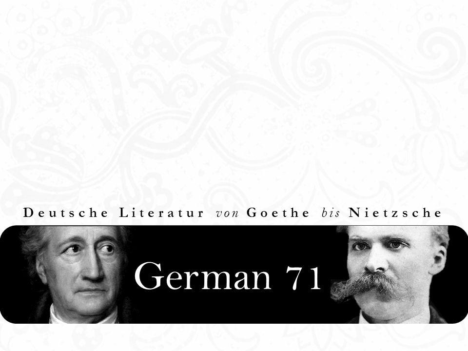 Deutsche Literatur von Goethe bis Nietzsche