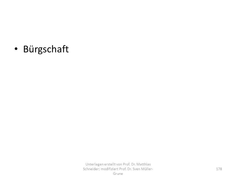 Bürgschaft Unterlagen erstellt von Prof. Dr. Matthias Schneider; modifiziert Prof.