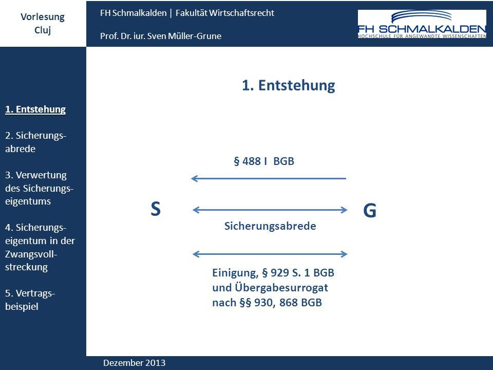 S G 1. Entstehung § 488 I BGB Sicherungsabrede