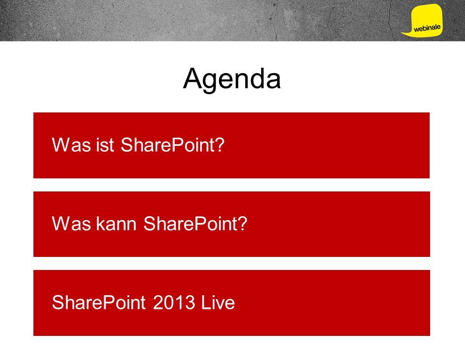 Agenda Was ist SharePoint Was kann SharePoint SharePoint 2013 Live