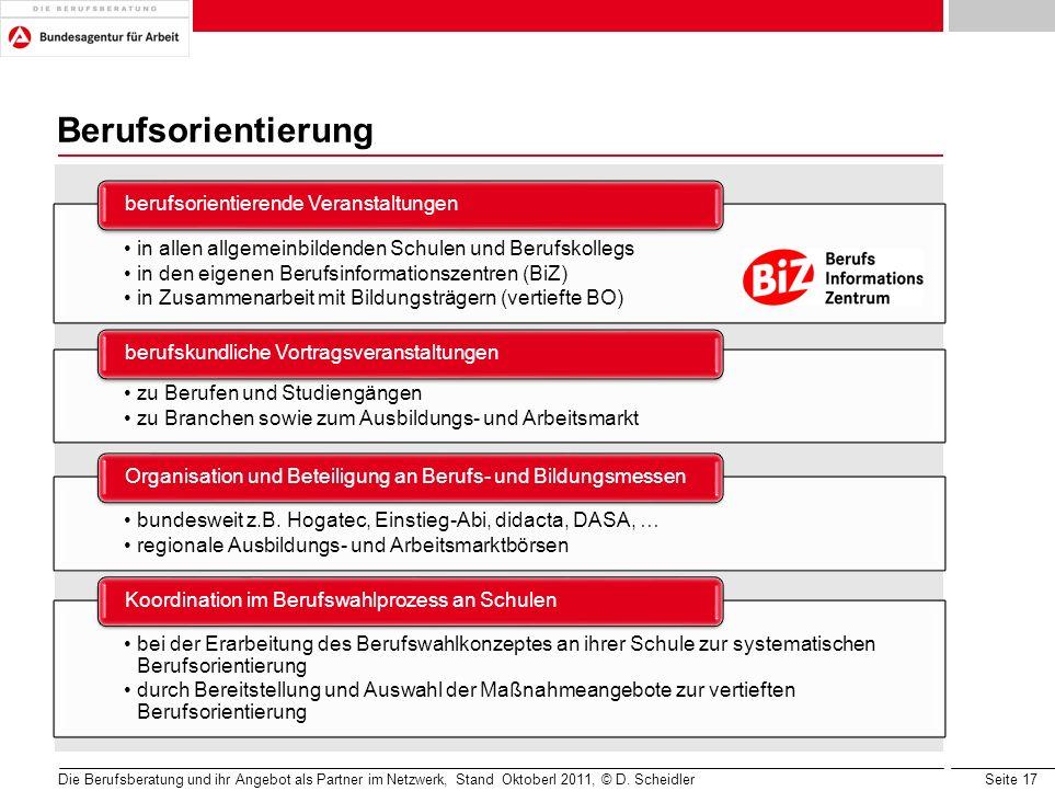 Berufsorientierung in allen allgemeinbildenden Schulen und Berufskollegs. in den eigenen Berufsinformationszentren (BiZ)