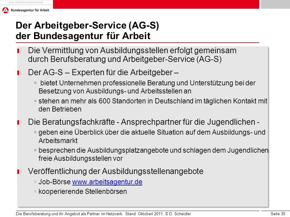 Der Arbeitgeber-Service (AG-S) der Bundesagentur für Arbeit