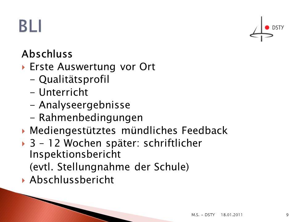 BLI Abschluss Erste Auswertung vor Ort - Qualitätsprofil - Unterricht