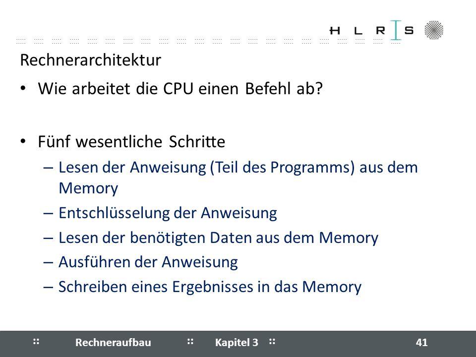 Wie arbeitet die CPU einen Befehl ab Fünf wesentliche Schritte