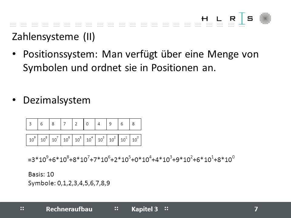 Zahlensysteme (II) Positionssystem: Man verfügt über eine Menge von Symbolen und ordnet sie in Positionen an.