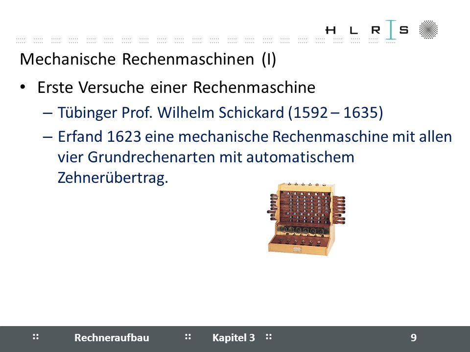 Mechanische Rechenmaschinen (I)