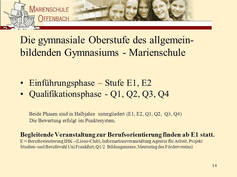 Die gymnasiale Oberstufe des allgemein- bildenden Gymnasiums - Marienschule