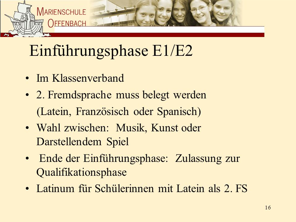 Einführungsphase E1/E2 Im Klassenverband