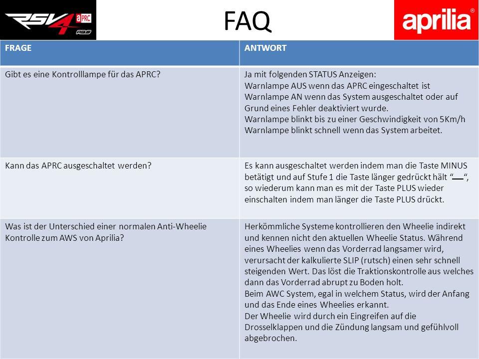 FAQ FRAGE ANTWORT Gibt es eine Kontrolllampe für das APRC
