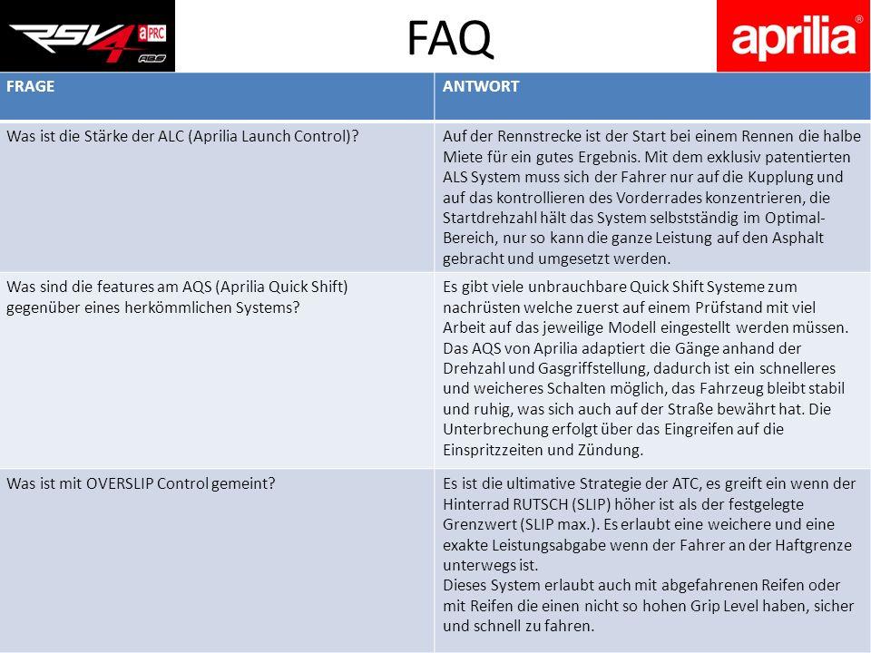 FAQ FRAGE ANTWORT Was ist die Stärke der ALC (Aprilia Launch Control)