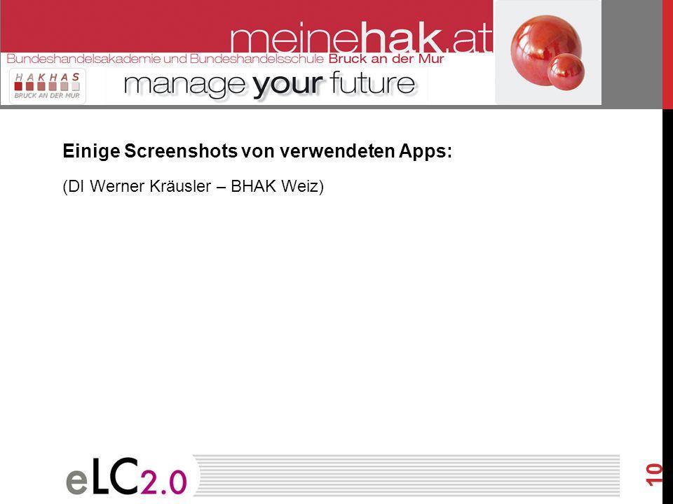 Einige Screenshots von verwendeten Apps:
