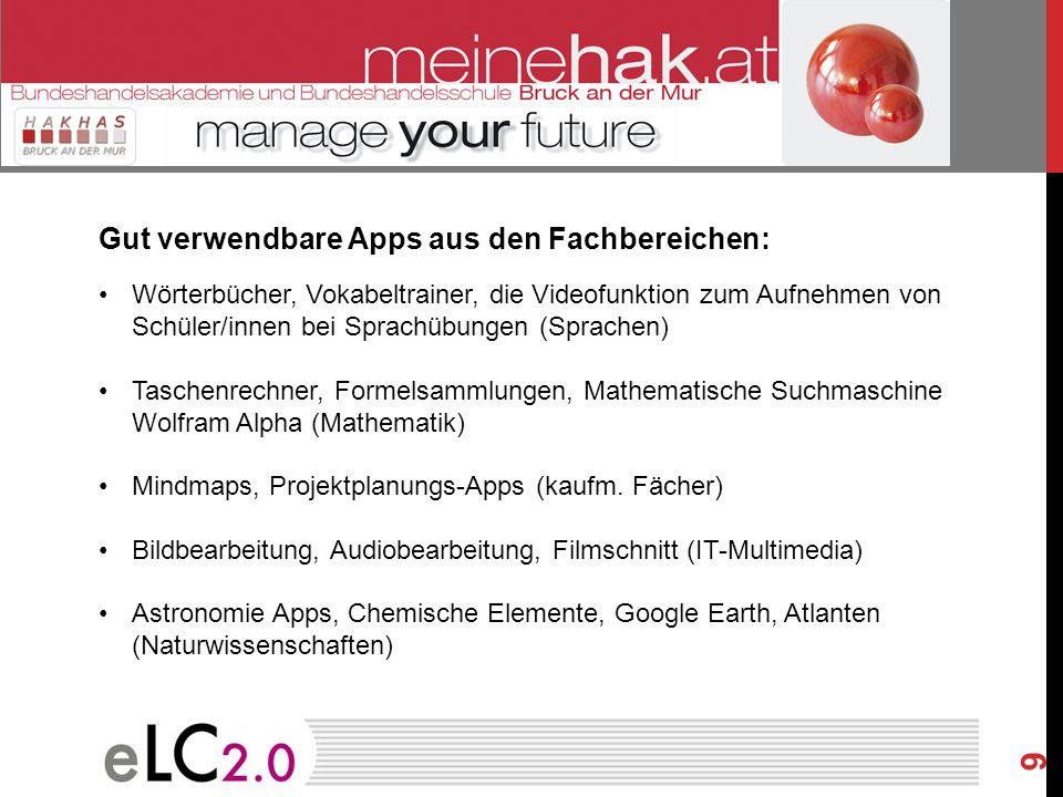 Gut verwendbare Apps aus den Fachbereichen: