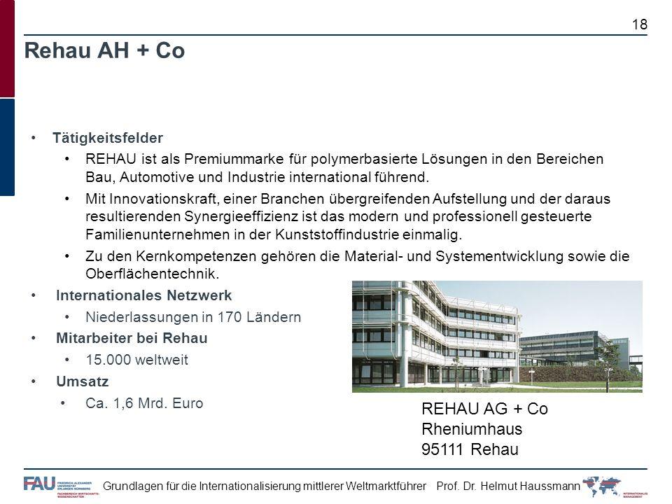 Rehau AH + Co REHAU AG + Co Rheniumhaus 95111 Rehau Tätigkeitsfelder