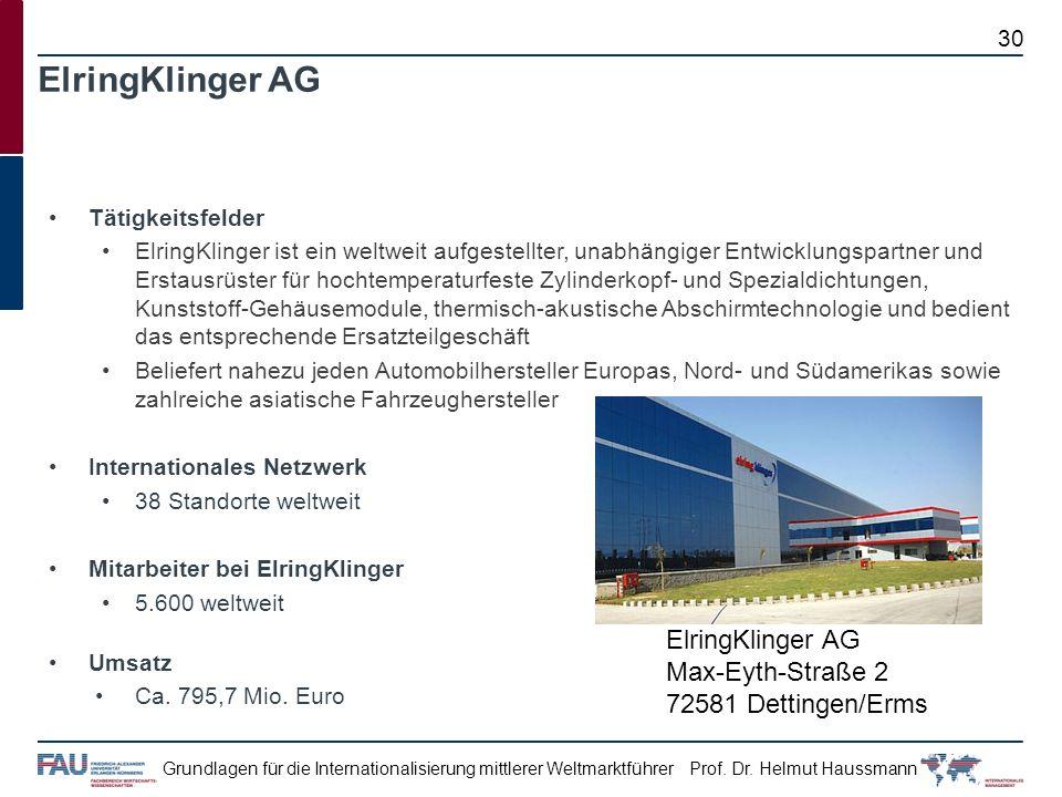 ElringKlinger AG Tätigkeitsfelder.