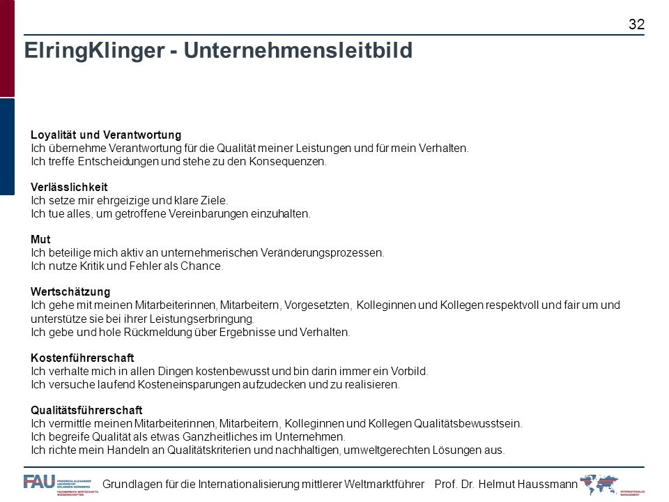 ElringKlinger - Unternehmensleitbild
