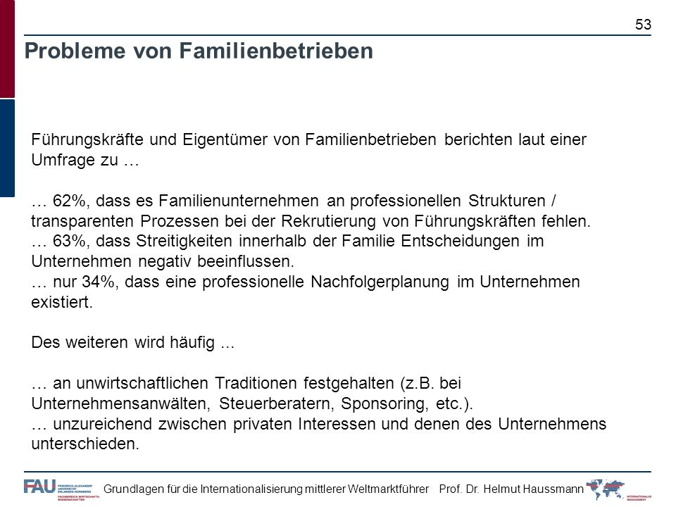 Probleme von Familienbetrieben