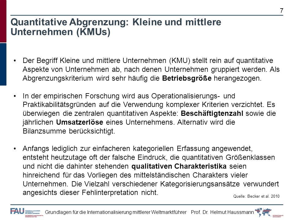 Quantitative Abgrenzung: Kleine und mittlere Unternehmen (KMUs)