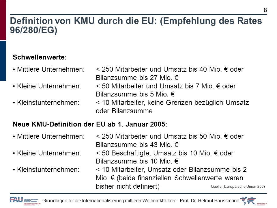 Definition von KMU durch die EU: (Empfehlung des Rates 96/280/EG)