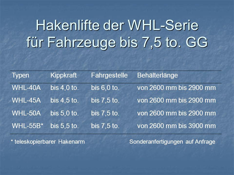 Hakenlifte der WHL-Serie für Fahrzeuge bis 7,5 to. GG