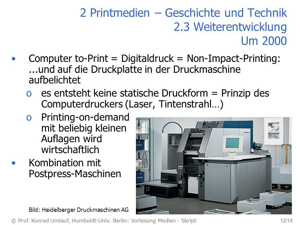 2 Printmedien – Geschichte und Technik 2.3 Weiterentwicklung Um 2000