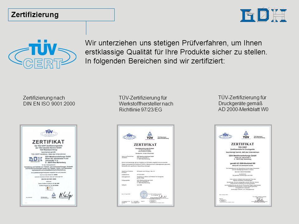 In folgenden Bereichen sind wir zertifiziert: