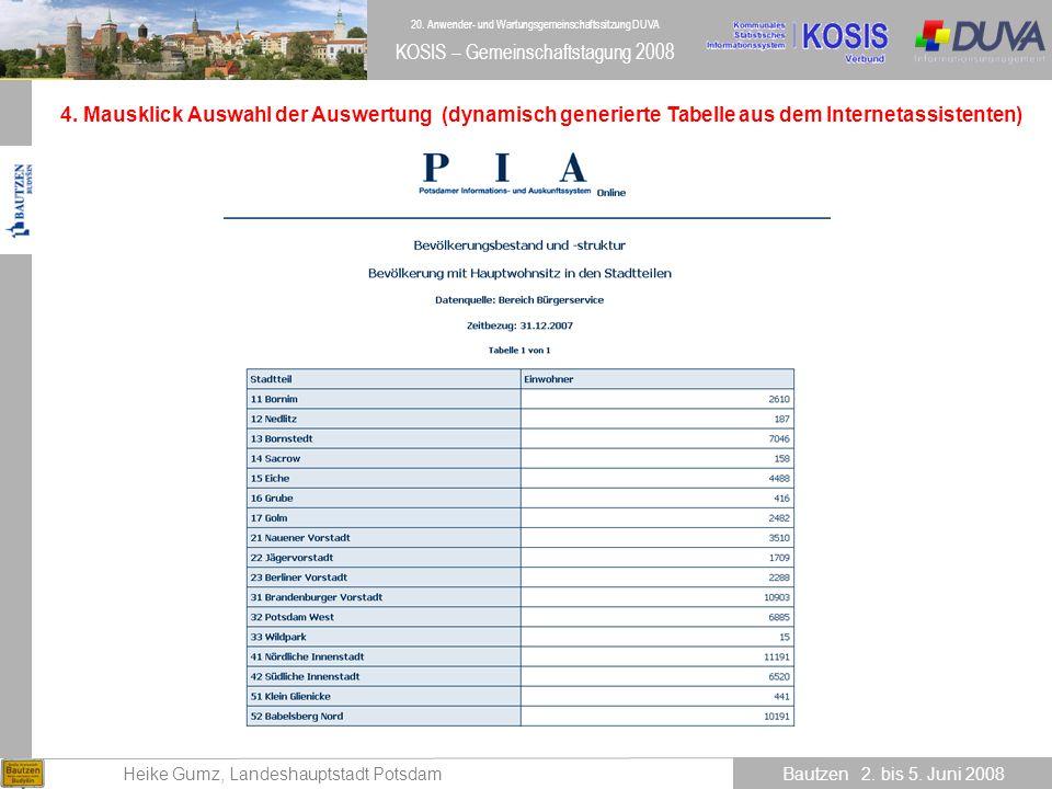 4. Mausklick Auswahl der Auswertung (dynamisch generierte Tabelle aus dem Internetassistenten)