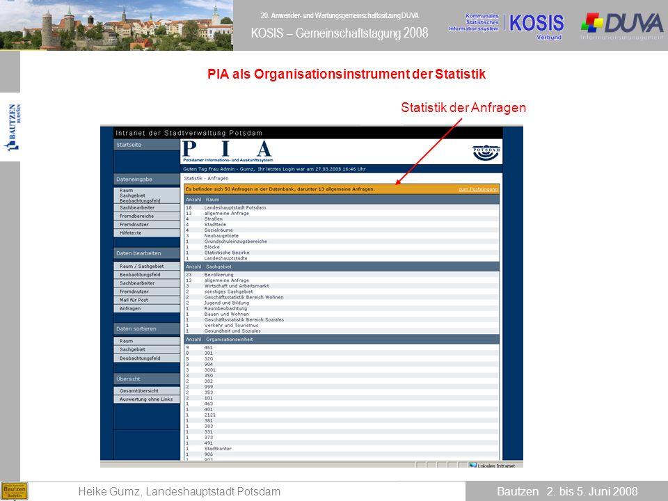 PIA als Organisationsinstrument der Statistik