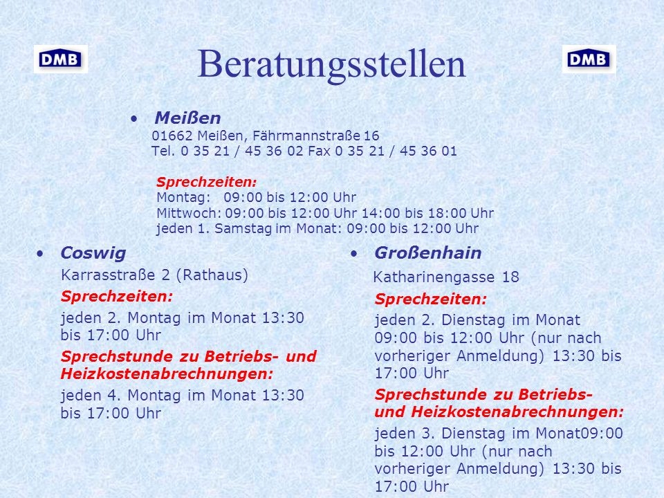 Beratungsstellen Meißen Coswig Großenhain Katharinengasse 18
