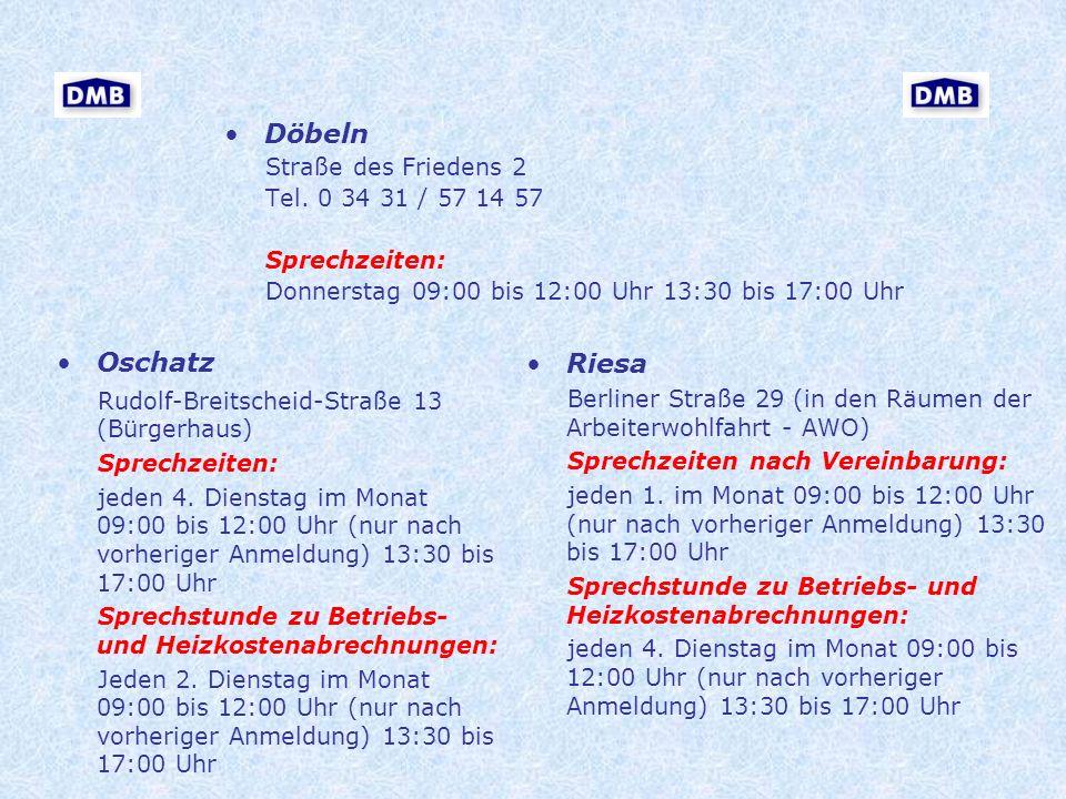 Döbeln Oschatz Riesa Straße des Friedens 2 Tel. 0 34 31 / 57 14 57